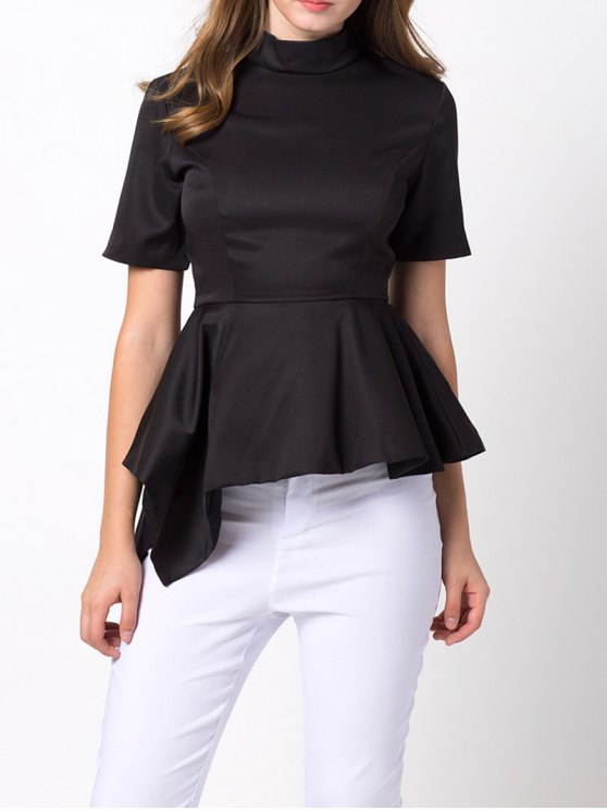 Asymmetric Blouse - BLACK L Mobile