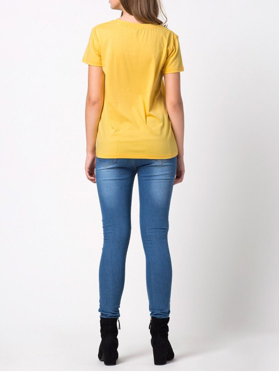 Fitting Letter T-Shirt - YELLOW M Mobile