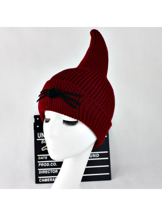 Warm Cat Beard Shark Fin Shape Knit Hat - WINE RED  Mobile