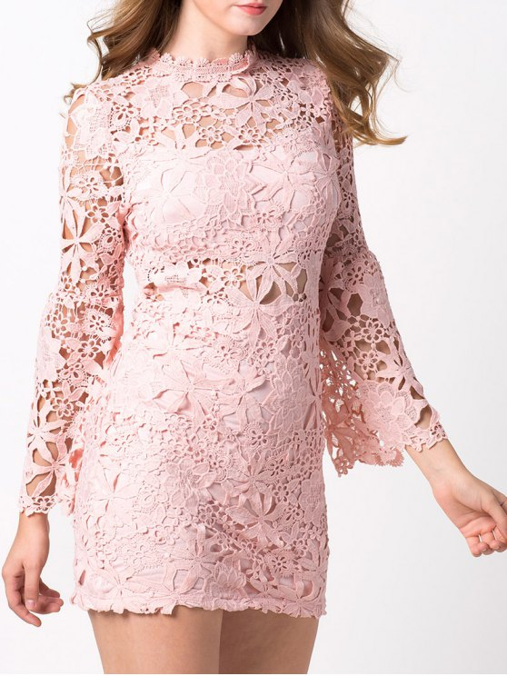 Cut Out Flare Sleeve Lace Dress - PINK M Mobile