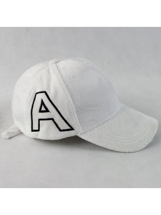 Warm Letter A Embroidery Plush Baseball Hat -   Mobile