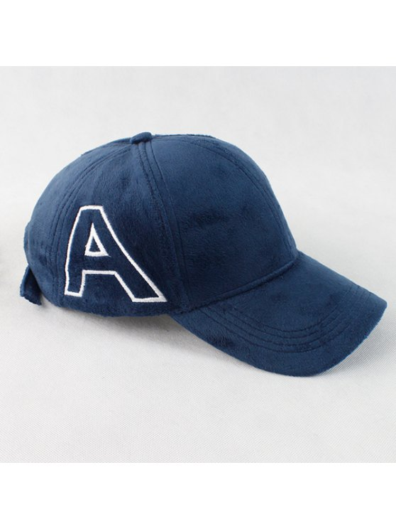 Warm Letter A Embroidery Plush Baseball Hat - CADETBLUE  Mobile