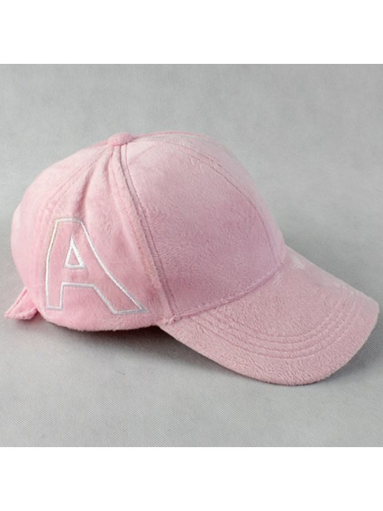 Warm Letter A Embroidery Plush Baseball Hat - PINK  Mobile