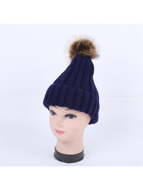 Winter Stripy Flanging Pom Hat - PURPLISH BLUE  Mobile