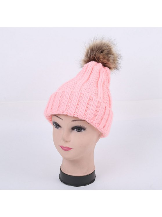 Winter Stripy Flanging Pom Hat - PINK  Mobile