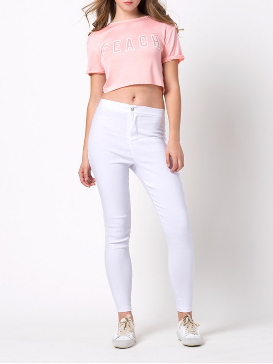 Letter Cropped T-Shirt - PINK 2XL Mobile