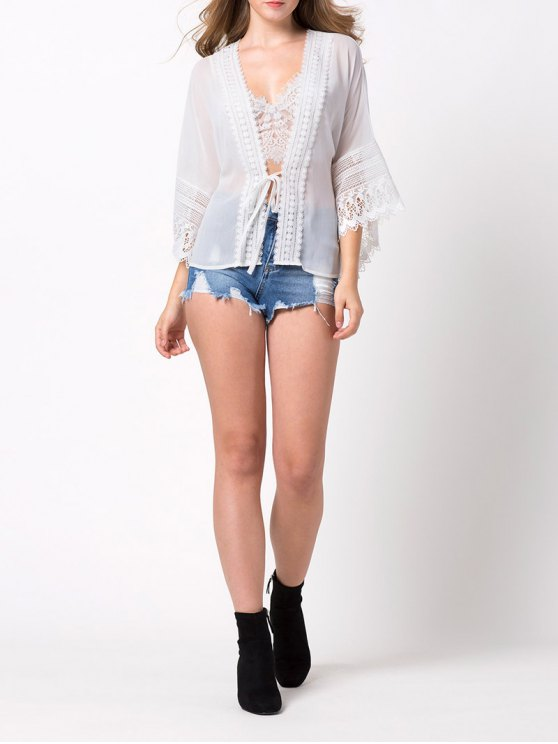 String Lace Insert Blouse - WHITE M Mobile