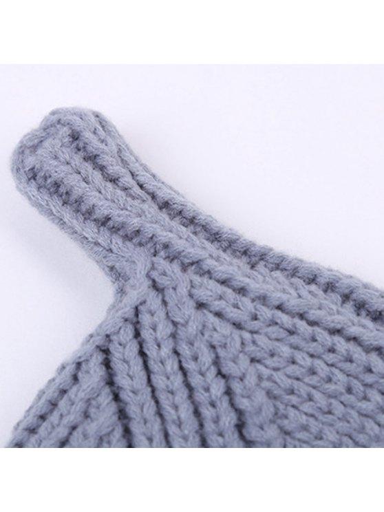 Winter Teat Shape Knit Hat - LAKE BLUE  Mobile