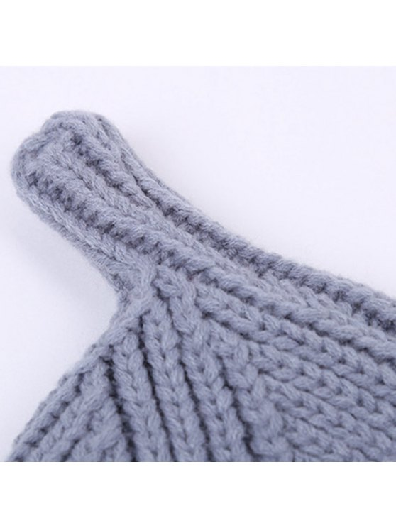 Winter Teat Shape Knit Hat - GRAY  Mobile