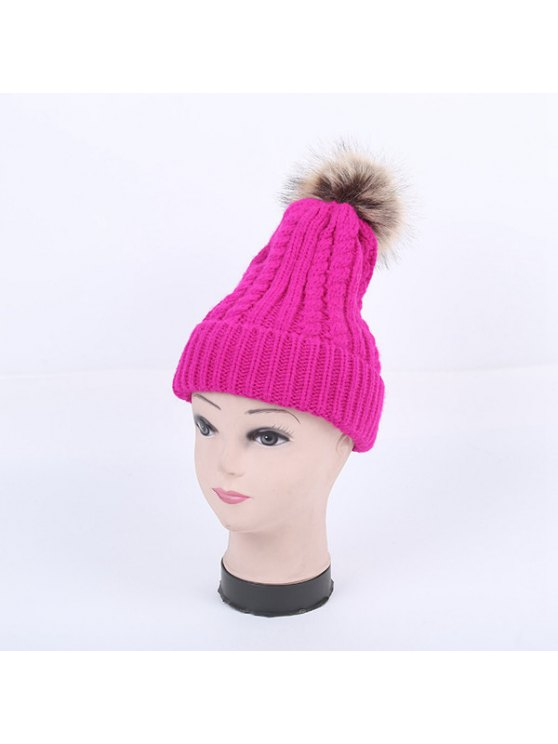 Winter Cable Knit Pom Hat - BRIGHT PINK  Mobile