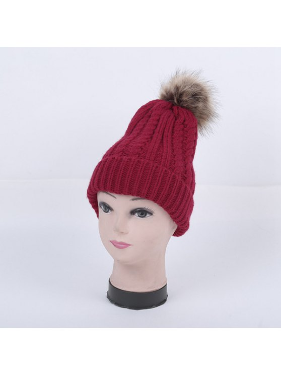 Winter Cable Knit Pom Hat - WINE RED  Mobile
