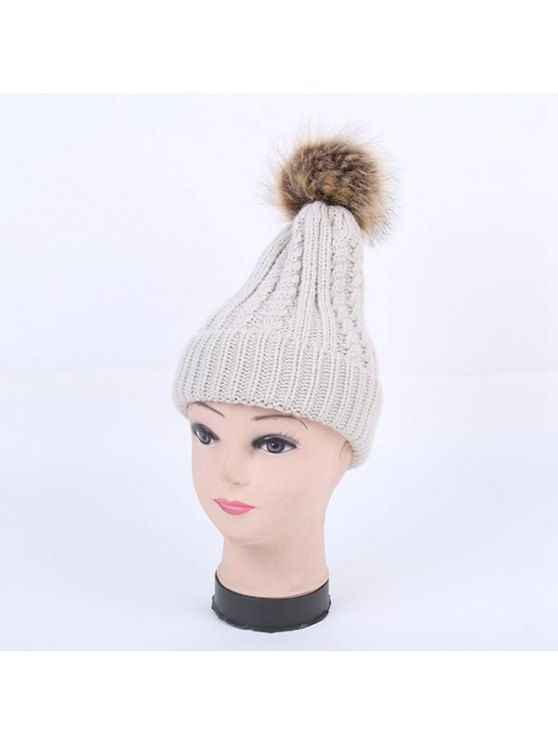Winter Cable Knit Pom Hat - LIGHT GRAY  Mobile