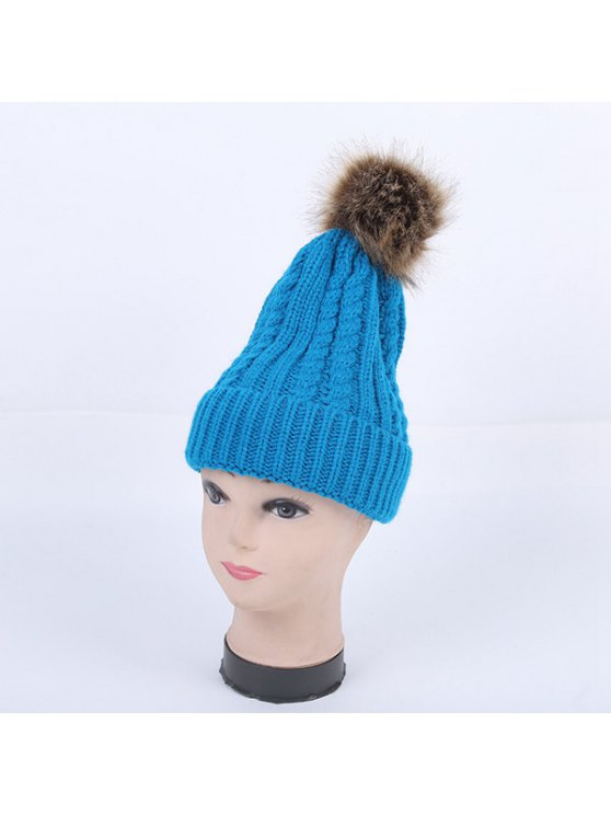 Winter Cable Knit Pom Hat - LAKE BLUE  Mobile