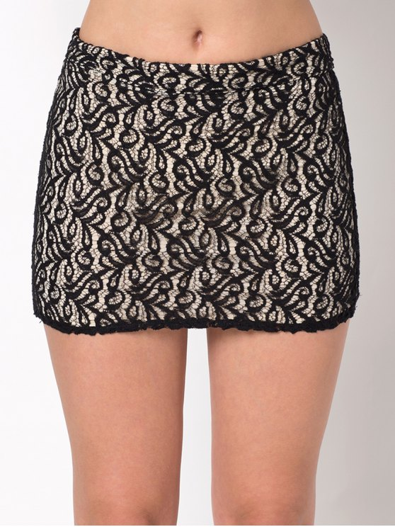 Lace Panel Bodycon Mini Skirt - BLACK M Mobile