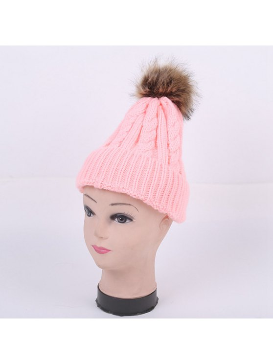 Winter Stripy Cable Knit Pom Hat - PINK  Mobile