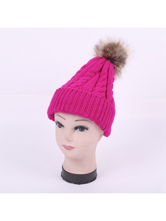 Winter Stripy Cable Knit Pom Hat - BRIGHT PINK  Mobile