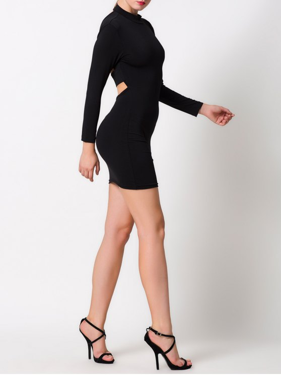 High Collar Hollow Out Bodycon Dress - BLACK L Mobile