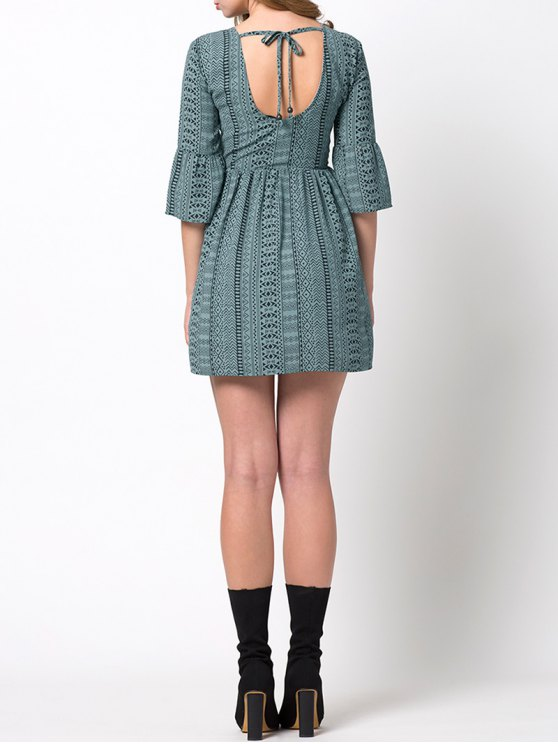 Flare Sleeve Geometric Mini Dress - GREEN XL Mobile