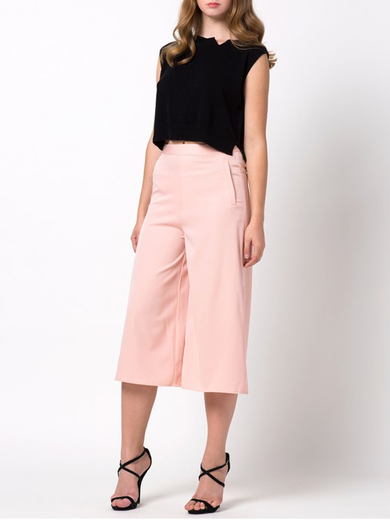 Casual Wide Leg Capri Pants - PINK M Mobile