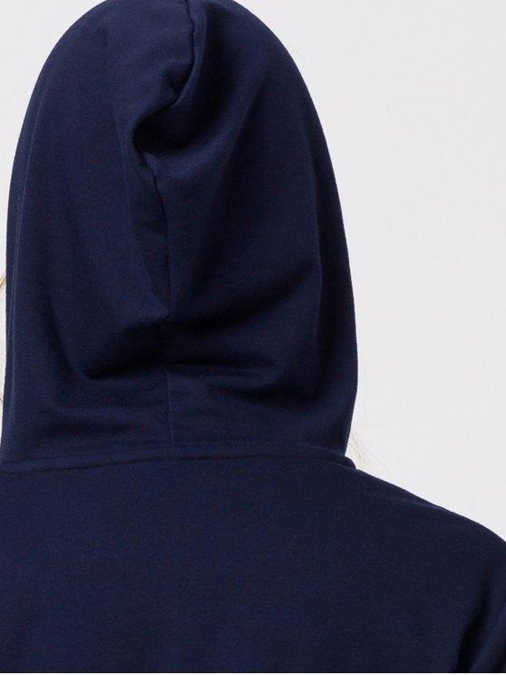 String Zip-Up Hoodie - DEEP BLUE L Mobile