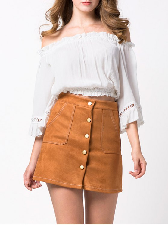 Loose Cropped Off the Shoulder Blouse - WHITE M Mobile