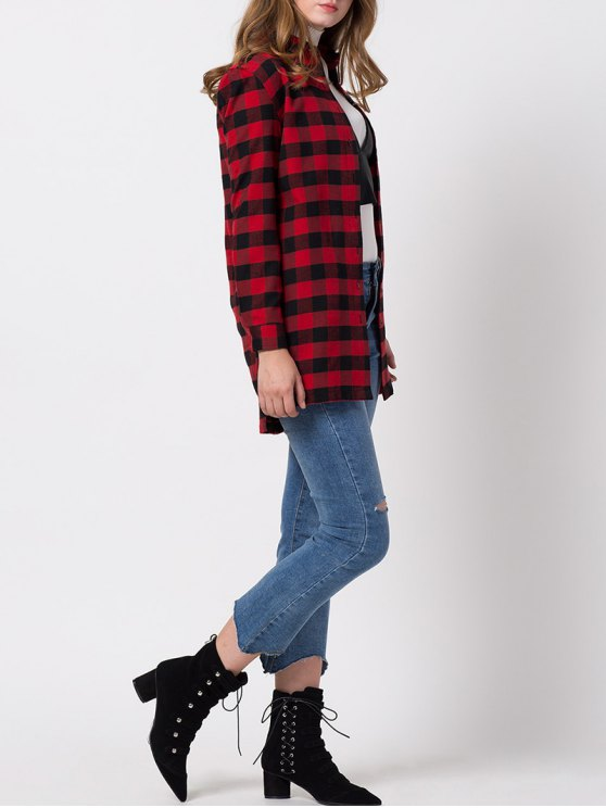 Checked High-Low Shirt - RED M Mobile