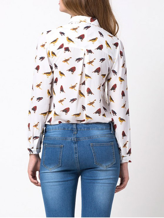 Bird Print Chiffon Animal Print Shirt - WHITE S Mobile