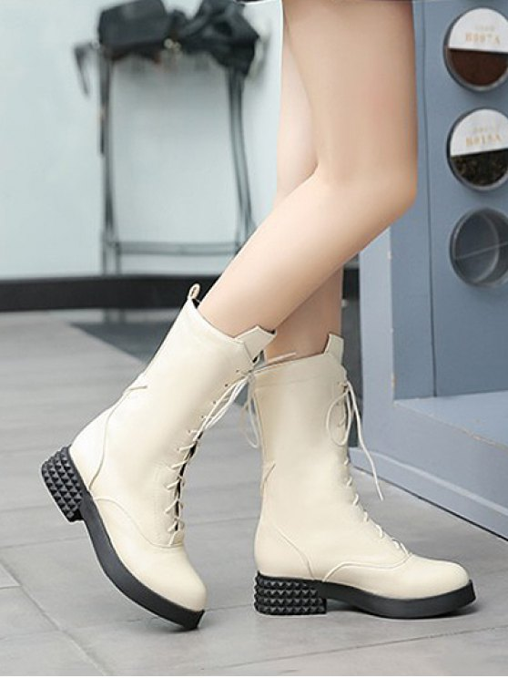 Chunky Heel Platform Tie Up Mid-Calf Boots - GLITTER CREAMY WHITE 37 Mobile