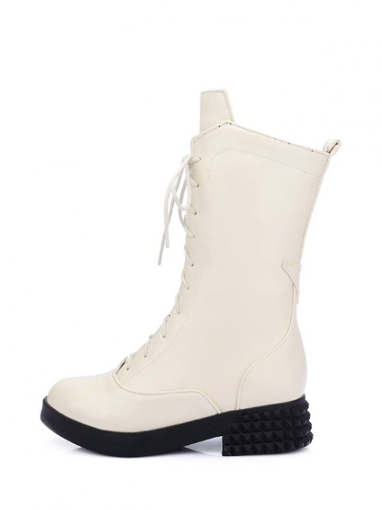 Chunky Heel Platform Tie Up Mid-Calf Boots - GLITTER CREAMY WHITE 39 Mobile