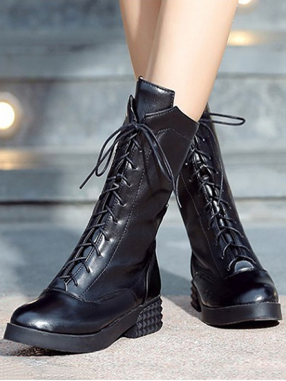Chunky Heel Platform Tie Up Mid-Calf Boots - BLACK 37 Mobile