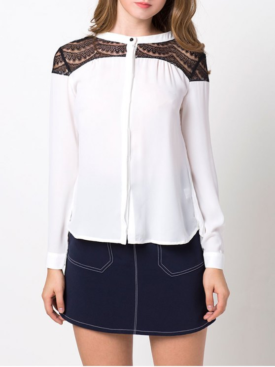 Lace Insert High-Low Blouse - WHITE XL Mobile