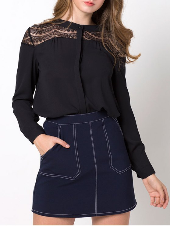 Lace Insert High-Low Blouse - BLACK L Mobile
