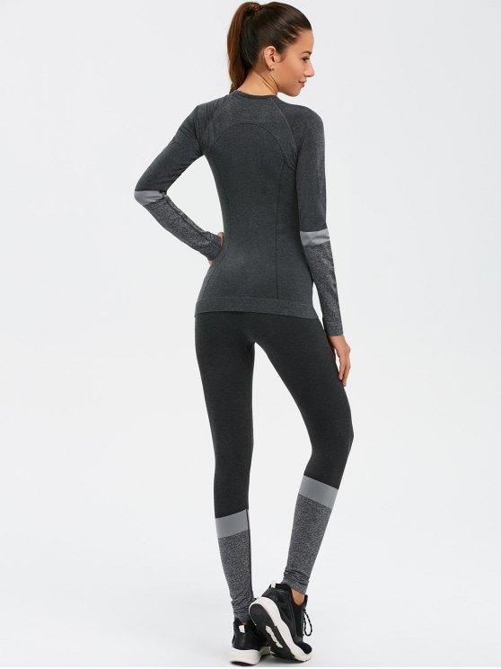 Slim Fit T-Shirt and Yoga Leggings - DEEP GRAY M Mobile