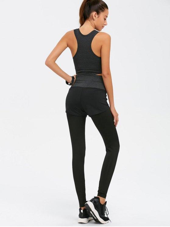 Graphic Print Bra and Bodycon Yoga Leggings - GRAY S Mobile
