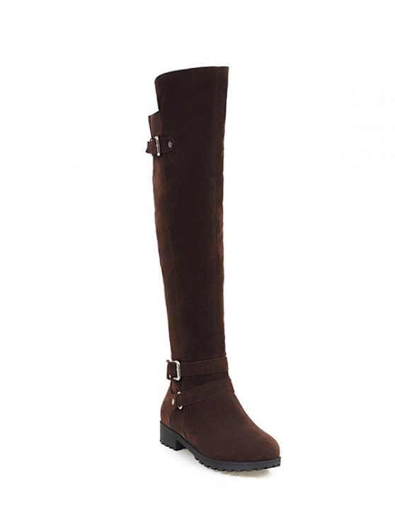 Metal Zipper Knee Double Buckle High Boots - DEEP BROWN 38 Mobile