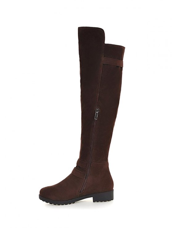 Metal Zipper Knee Double Buckle High Boots - DEEP BROWN 39 Mobile