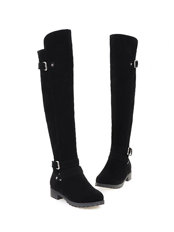 Metal Zipper Knee Double Buckle High Boots - BLACK 37 Mobile