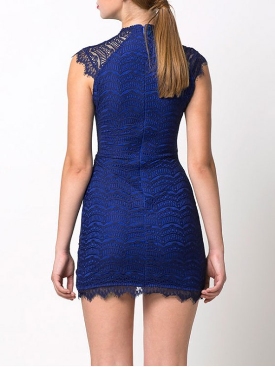 Asymmetric Lace Mini Dress - BLUE M Mobile