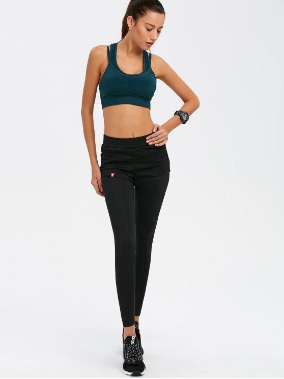 Two Tone Bra and Bodycon Yoga Leggings - BLACK L Mobile