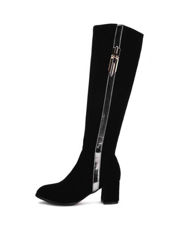 Zip Chunky Heel Metal Knee High Boots - BLACK 39 Mobile