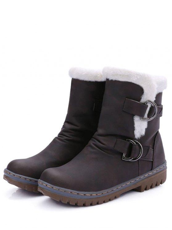 Wrinkled Metal Flat Heel Short Boots -   Mobile