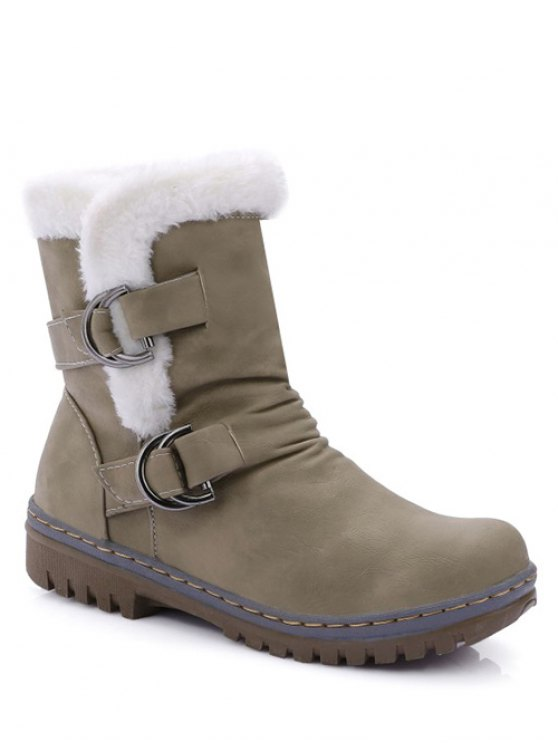 Wrinkled Metal Flat Heel Short Boots - KHAKI 39 Mobile