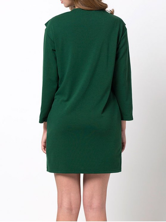 Ruffles Long Sleeve Mini Dress - GREEN M Mobile