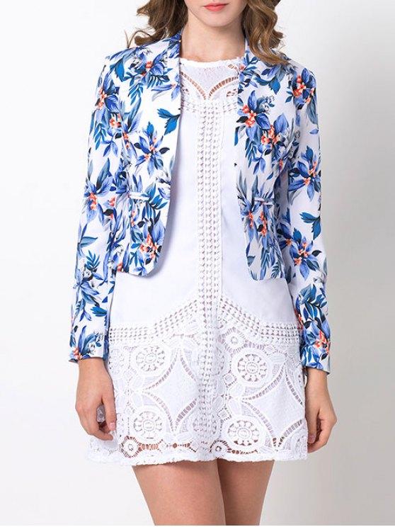 women Open Front Floral Blazer - BLUE S