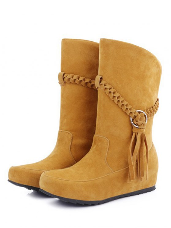 Tassels Weave Hidden Wedge Mid Calf Boots - DEEP YELLOW 38 Mobile