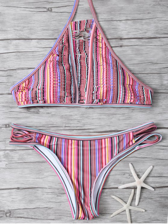 High Neck Striped Split Bikini - MULTICOLOR XL Mobile