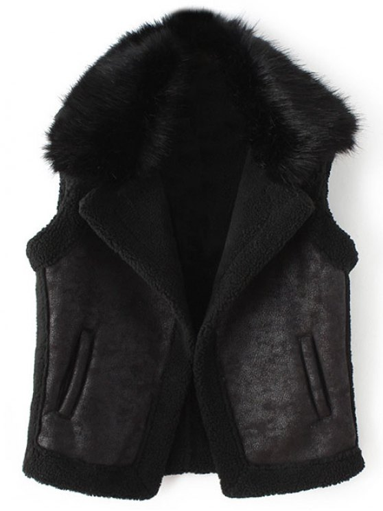 Detachable Fur Collar Suede Waistcost - BLACK L Mobile