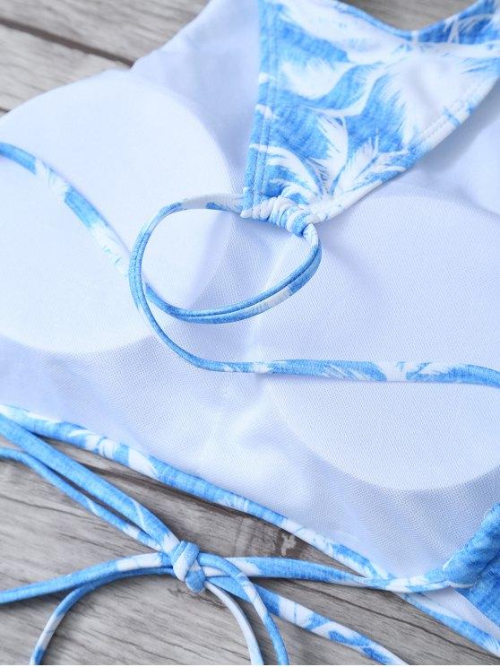 Coconut Palm High Neck Bikini Set - BLUE AND WHITE L Mobile