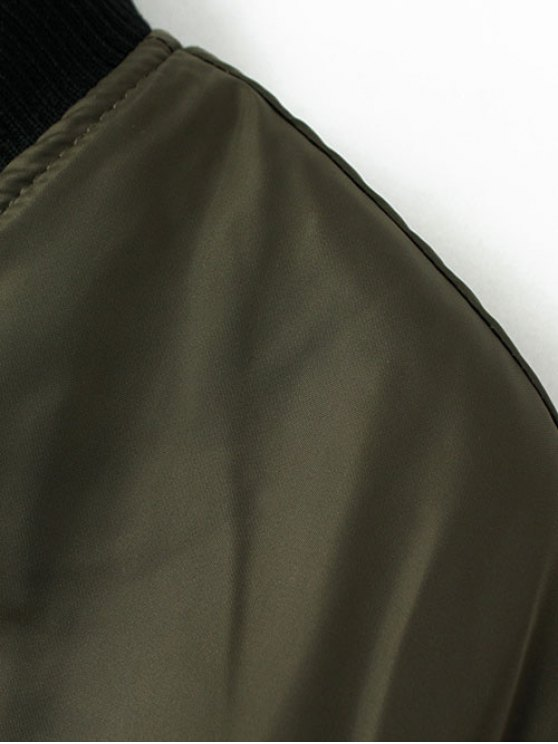 Stand Neck Padded Bomber Coat - ARMY GREEN M Mobile