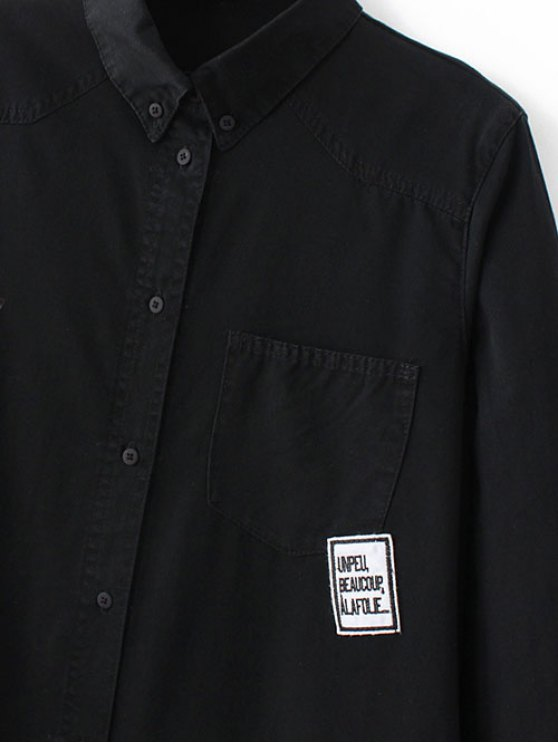 Letter Patch Long Sleeve Denim Shirt - BLACK L Mobile
